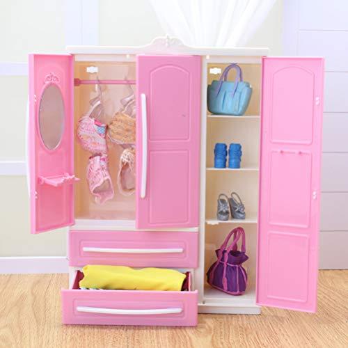 Heitign organizzatore di abbigliamento guardaroba per guardaroba per bambole, mini armadio pieghevole per bambole per bambole e accessori, rosa