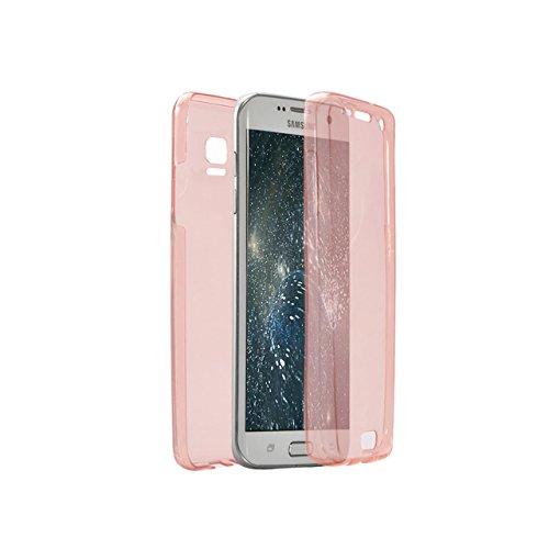 Cover Samsung Galaxy Note 4 N9100 360 Gradi,Custodia Full Body Samsung Galaxy Note 4 N9100,Fronte Retro trasparente Ultra Sottile Silicone Case Molle di TPU Sottile 3 in 1 Protezione Completa Glitter  360 Rosa