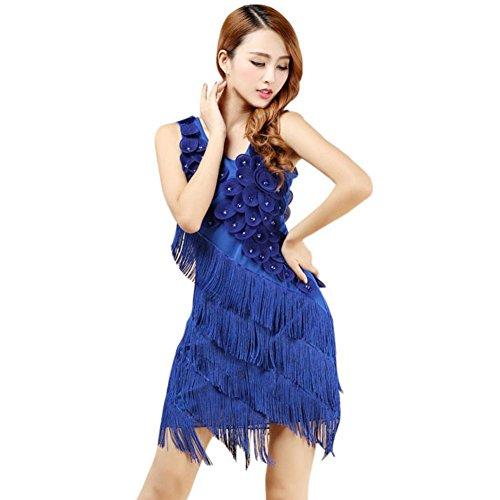 Brightup Frauen Quaste lateinische Tanz Kleid Rock Partei Kleid Sommer Tanz Praxis Kostüm (Pailletten & Fringe Gold Flapper Kostüme)