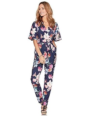 M&Co Ladies Lightweight Jersey Floaty Half Sleeve Wrap Over V Neck Floral Print Tie Waist Jumpsuit Navy 20