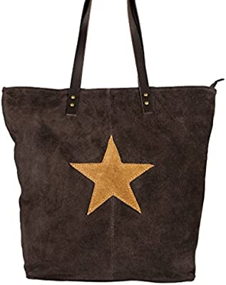 LOCARNO marrón, bolso de hombro, ante cuero auténtico con una estrella, Carelli Italia
