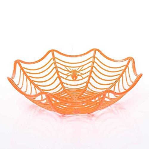 XJZxX Kunststoff Spinnennetz Früchte Candy Basket Spinnennetz Schüssel Halloween Party Decor (Farbe : Orange)