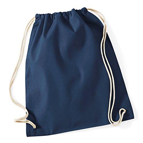 Gymsac / Turnbeutel aus Baumwolle, Größe:46 x 36 cm (12 Stück, Navyblau) - Blaue Stück Stoff