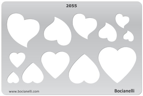 15cm x 10cm Normographe Plastique Transparent Trace Gabarit de Dessin Conception Graphique Art Artisanat Fabrication Bijoux Illustration - Cœurs Coeurs