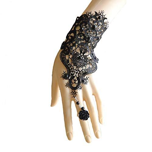HUSHOUZHUO Hochzeit Braut Armband Für Frauen White Lace Chain Handschuh Harness Finger Armband Mit Flower Charm Vintage Gothic Schmuck