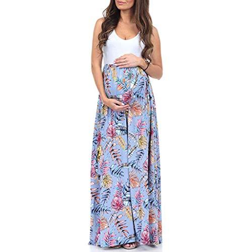 Likecrazy Damen Maxi Kleider Frauen Mutterschaft Ärmellos Spleißkleid für Schwangere Farbe Block Schwangerschaftskleider Mode Patchwork Beach Dress Sommer Daily Umstandskleid Split-block 66