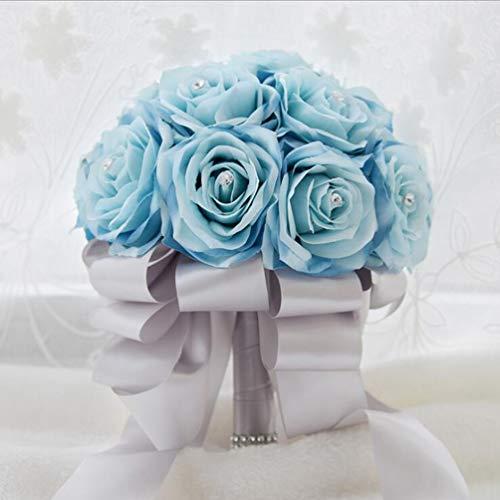 FLOWERSMY Handgemachte Rosen Brautjungfer Braut künstliche Blumensträuße Braut hält Bouquet Hochzeit für Foto-Shooting, Valentinstag, Vorschlag und Geburtstag, Blue