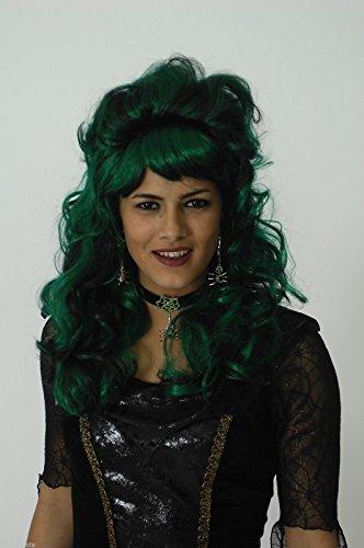 K11277135 schwarz/ grün Perücke gelockt Hexenperücke (Schwarz Vampira Perücke Für Erwachsene)
