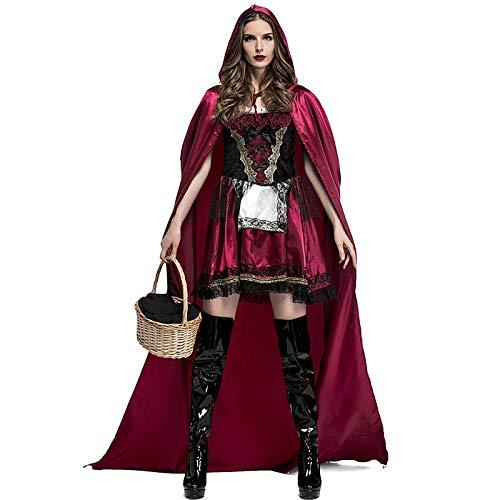 COSOER Nachtclub Queen Cosplay Kostüm Rotkäppchen Stage Dress Für Halloween Female Wear,Red-S