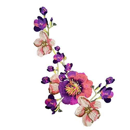 (Fansi 1 Stück Kreative chinesische Pfingstrose Stickerei Spitze Stoff Cheongsam Nähapplikation Blumen Frauen Tücher DIY Kostüm Zubehör, Polyester, violett, 33cm*37cm)
