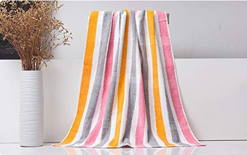 jinfudi Baumwollhandwerk super weiches Handtuch gestreifte Baumwolle Hotel SPA Badetuch, pink orange, 70 * 140cm (Orange Gestreifte Badetuch)