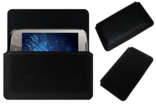 Acm Horizontal Leather Case For Lava Xolo A500 Mobile Cover Carry Pouch Holder Black  available at amazon for Rs.329