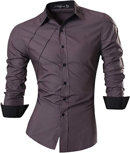 Jeansian uomo camicie maniche lunghe moda men shirts slim fit causal long sleves fashion 2028 gray l