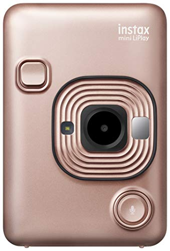 Fujifilm instax mini liplay blush gold fotocamera ibrida istantanea e digitale, registra 10