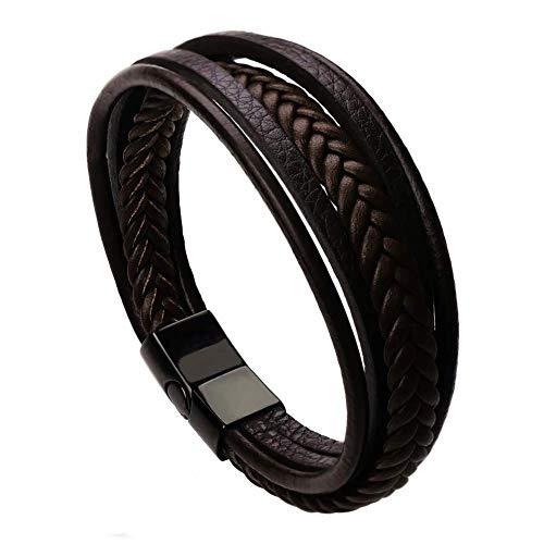 Lareina.C Mehrschichtig Geflochten Echtlederarmband für Männer in Braun Armbänder für Herren Armreif Ketten Edelstahl Magnetverschluss
