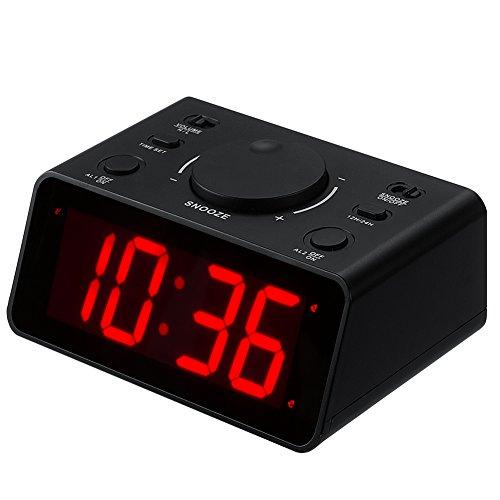 """Kwanwa inalámbrico Digital LED Reloj de Alarma Dual Fácil de configurar 2 alarmas con 1,2""""Rojo números de Pantalla para dormitorios.Nightstand, cabecera"""