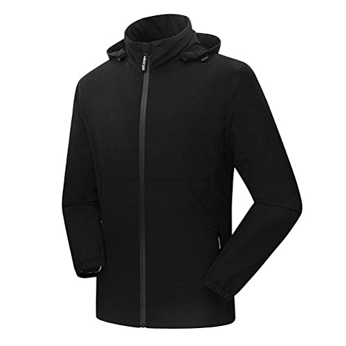 Zhhlaixing Men's Lightweight Breathable Windproof Jacket Giacca Softshell Impermeabile Zip Hooded Jacket Stand Collar Windbreaker Black
