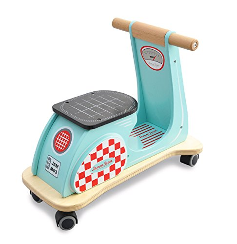Indigo Jamm Wooden Jamm Scoot, Toy Ride-On Scooter with Retro Classic Design for Children Aged 12 Months Plus – Aqua Racer