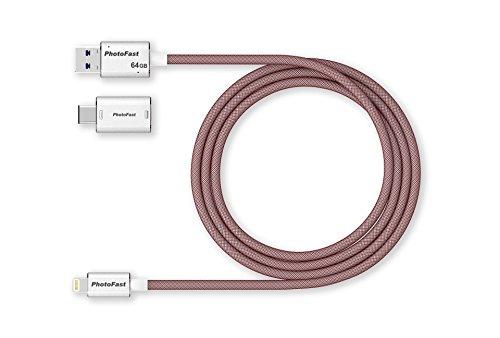 PhotoFast 73162 MemoriesCable 3G Lade-/Datenkabel und Externer USB 3.1 Speicher für Apple iPhone, iPad inklusive USB-C und microUSB Adapter, 1m Silber/rot