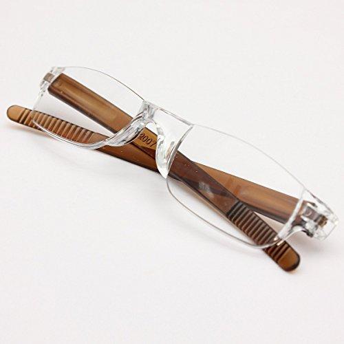 Preisvergleich Produktbild KING DO WAY Lesebrillen braune kaffee unisex leichtgewicht rimless lesebrille brillen 2.5