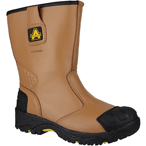 Amblers Safety Mens FS143 Leather Waterproof Safety Rigger Boots Brown Brown