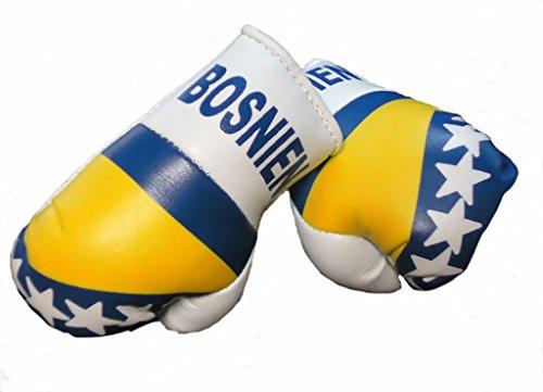 Sportfanshop24 Mini Boxhandschuhe BOSNIEN HERZEGOWINA, 1 Paar (2 Stück) Miniboxhandschuhe z. B. für Auto-Innenspiegel