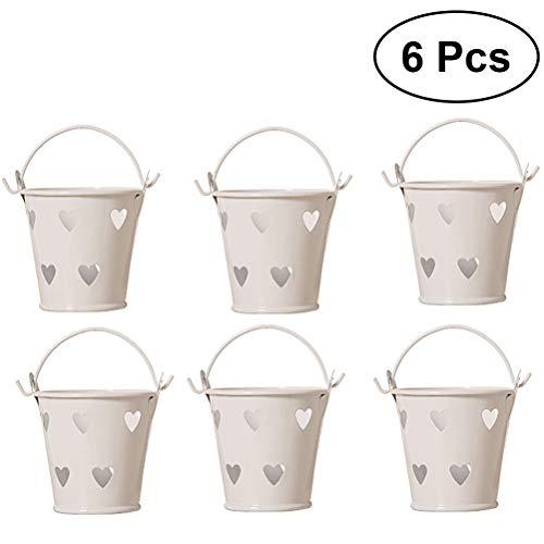 Toyvian 6pcs Huecos Forma corazón Mini Cubos Hierro