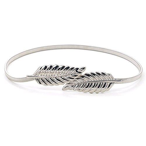ishine cinturones mujer fiesta Moda Estilo del Metalico Estiramiento Elástico de la Cintura la Pretina (plata)