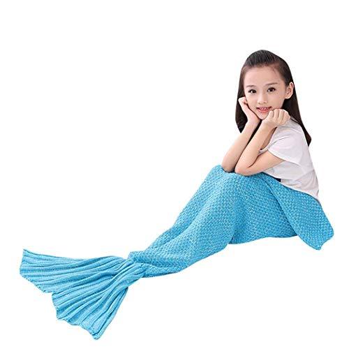 NEWYANG Meerjungfrau Flosse Decke Decke Meerjungfrau, Meerjungfrau Decke Rosa,Meerjungfrau Decke Kinder,Geschenke Für Mädchen,Spielzeug Für Mädchen,Weihnachtsgeschenke Für Kinder (Kid Light Blue)