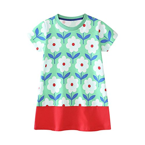 bobo4818 Toddler Baby Kid Girl Floral Pattern Dress Outfit Clothes Kleid Langarm MäDchen (Green, Size:3T)