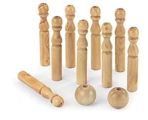 Artisan du Jura - Quilles, boules de pétanque en bois - Jeu de 9 quilles en bois massif H 30 cm