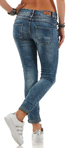 skutari luxurioese Damen Jeans Stretch Loose Fit Jeans da donna Boyfriend Bottoni Chiusura Lampo Denim Blu 1