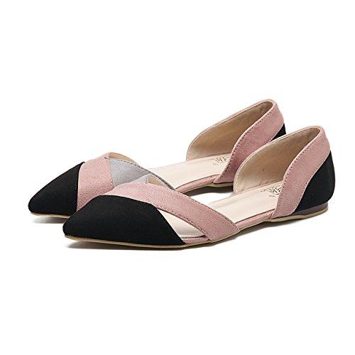 Damen Sandalen Slip on Geschlossen Spitz Zehen Nubukleder Mosaik-Farben Hohl Atmungsaktiv Flach Strapazierfähig Schick Sommerlich Schuhe Pink