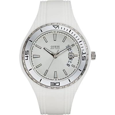 Guess W95143G3 Reloj analógico de cuarzo para hombre con correa de caucho, color blanco