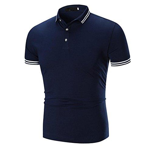 Kanpola Poloshirt T-Shirt Herren Slim Fit Shirt Beiläufig Kurzarm Männer Stehkragen Kurzarm Shirts Tops