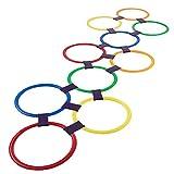 Wilk Hopscotch Anello di Gioco Gioca 10 Multi-Colored di plastica Anelli e 9 Connettori per Interni o Esterni USA-Divertimento Creativo Play Set per Ragazzi e Ragazze