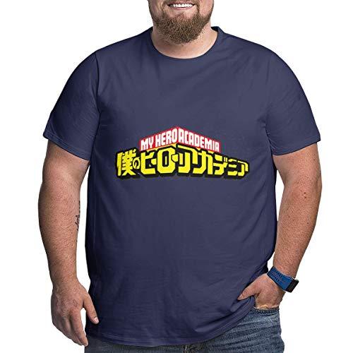 Eivan My Hero Academia Herren T-Shirt Large Size Rundhalsausschnitt Baumwolle Kurzarm Shirt Gr. XXXXX-Large, Navy