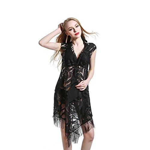 SZH YIBI Frau Bikini Europa ist dünn und reine Farbe verband Badeanzug hohe Elastizität Black
