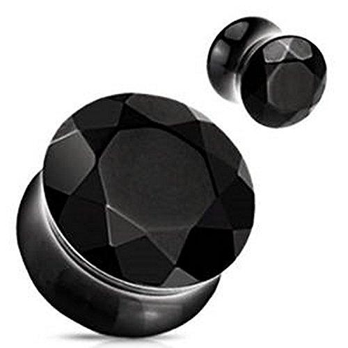 Piercing plug pierre semi precieuse Black Agate Taille 14 mm