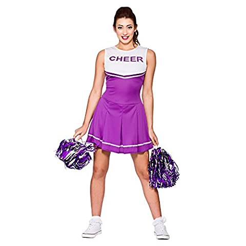 Ladies High School Cheerleader Purple Fancy Dress Up Party Costume Halloween