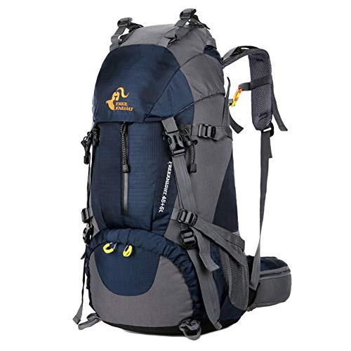 wanmeiwei Große Kapazität Rucksack Outdoor-Sport Bergsteigen Tasche 50L Regendecke senden, dunkelblau