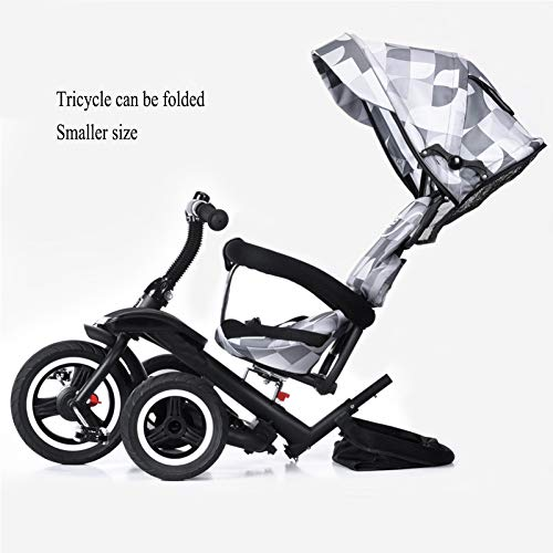 GSDZSY Children Tricycle Kids Stroller 3 In1, Foldable With Removable Push Handle Bar, Rubber Wheel (non-inflated),With Front Footrest, 1-5 Years,B  GSDZSY