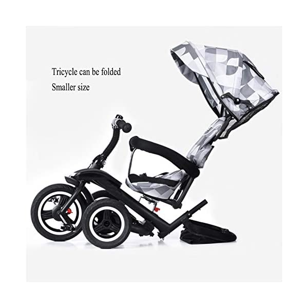 GSDZSY Children Tricycle Kids Stroller 3 In1, Foldable With Removable Push Handle Bar, Rubber Wheel (non-inflated),With Front Footrest, 1-5 Years,B GSDZSY  3