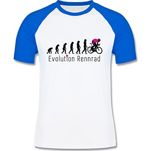 Radsport - Rennrad Evolution - zweifarbiges Baseballshirt für Männer Weiß/Royalblau