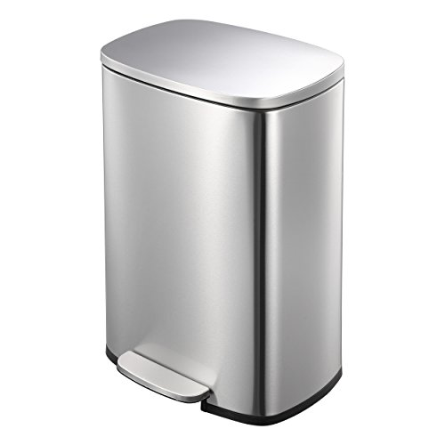 Lyndan - 50 Liter 50L Fingerabdruck-Edelstahl mit Weicher Abschluss Deckel Mülltonne, Küche, Garage, Schuppen und Heimanwendung Recyceln Mülleimer Müll Abfall Eco Mülleimer Recycling