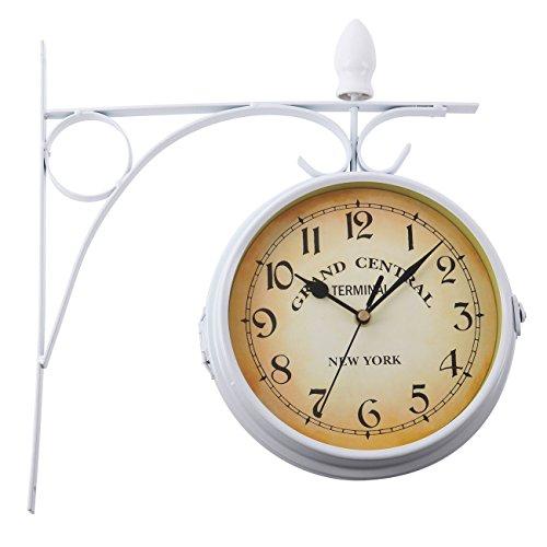 Paneltech black friday stile europeo doppio orologio da parete, home indoor outdoor garden fashion style doppio lato orologio da parete moderno white