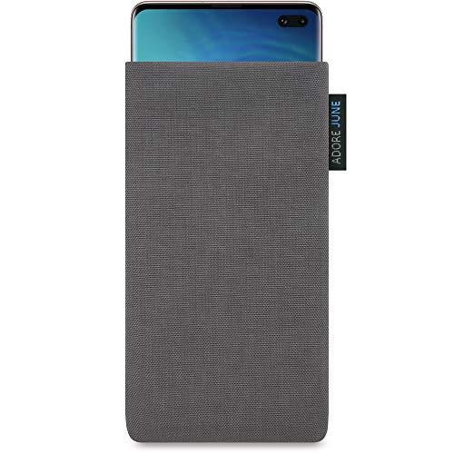 Adore June Classic Grigio Scuro Custodia per Samsung Galaxy S10 Plus / S10+, Tessuto Resistente con Display di Pulizia Effetto