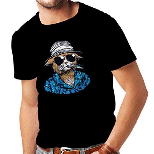 N4332 Männer T-Shirt Vintage Schnüffler (Large Schwarz (Kostüme Jahre Männliche 80er)
