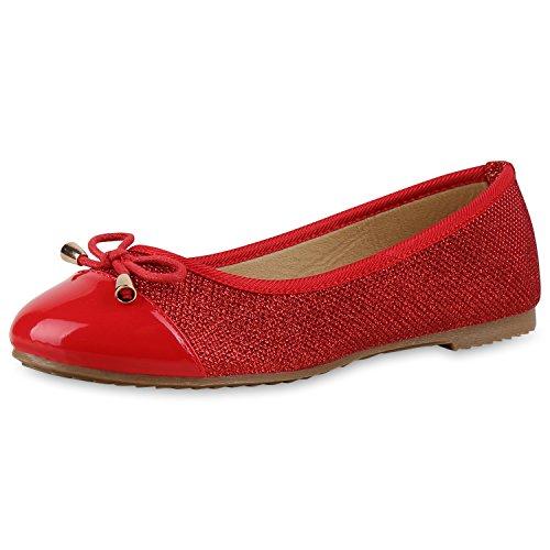 napoli-fashion Klassische Damen Ballerinas Glitzer Schuhe Flats Lackleder-Optik Slippers Ballerina Schuhe Schleifen Freizeitschuhe Jennika Rot Schleife