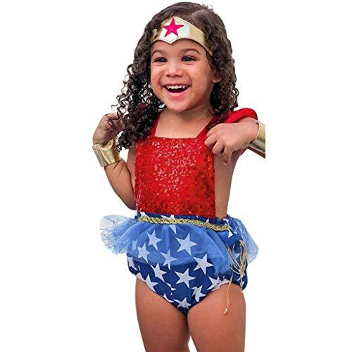 Xmiral Baby Mädchen Strampler Spitze Patchwork Pailletten Rückenfrei Bodysuit Tag der Unabhängigkeit Säugling Kleinkind Party Performance Kostüm(Rot,3-6 Monate)